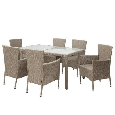 7-Piece Wicker Outdoor Dining Set with Beige Cushions