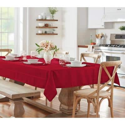 60 in. W x 84 in. L Oblong Poinsettia Red Elegance Plaid Damask Fabric Tablecloth