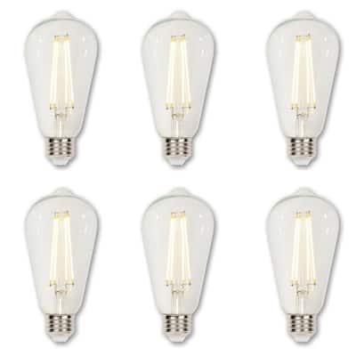 40-Watt Equivalent ST20 Dimmable Clear Edison Filament LED Light Bulb Soft White Light (6-Pack)