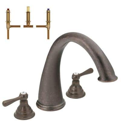 Kingsley 2-Handle Deck-Mount Roman Tub in Oil Rubbed Bronze (Valve Included)