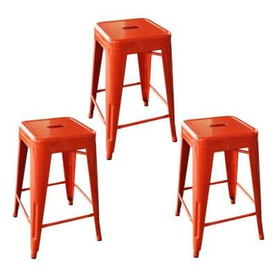 Loft Style 24 in. Stackable Metal Bar Stool in Orange (Set of 3)