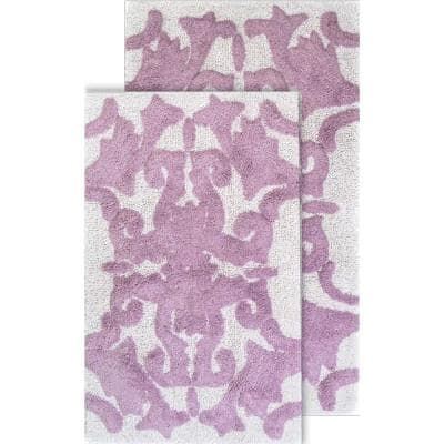 Iron Gate White and Lilac 20 in. x 32 in. and 23 in. x 39 in. 2-Piece Bath Rug Set
