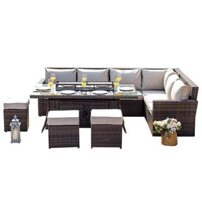 Amy 8-Piece Wicker Patio Fire Pit Conversation Sofa Set with Beige Cushions