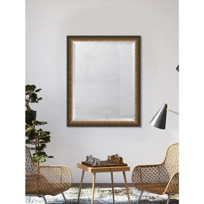 Medium Rectangle Gold Beveled Glass Contemporary Mirror (32 in. H x 26 in. W)