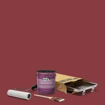 1 gal. #M140-7 Dark Crimson Extra Durable Eggshell Enamel Interior Paint and 5-Piece Wooster Set All-in-One Project Kit