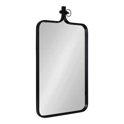Yitro 35 in. H x 20 in. W Modern Rectangle Framed Black Wall Mirror