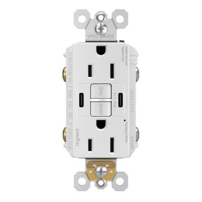 Radiant 15 Amp 125-Volt Tamper Resistant Self-Test GFCI Duplex Outlet with Type C/C USB, White