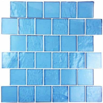Landscape Danube Blue Square Mosaic 2 in. x 2 in. Textured Glass Wall Pool and Floor Tile (1.04 Sq. ft.)