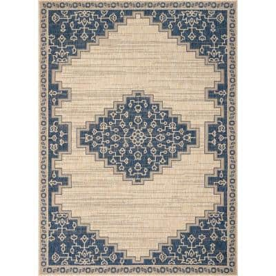 Medusa Mani Blue Oriental Medallion 5 ft. 3 in. x 7 ft. 3 in. Indoor/Outdoor Area Rug