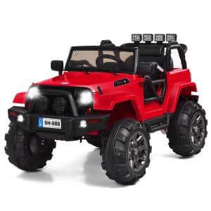 12-Volt Red Kids Ride On Truck Car with Remote Control MP3 Music LED Lights