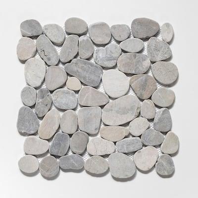 Sliced Pebble Tile Light Grey 11-1/2 in. x 11-1/2 in. x 9.5mm Honed Pebble Mosaic Tile (10.12 sq. ft./case)