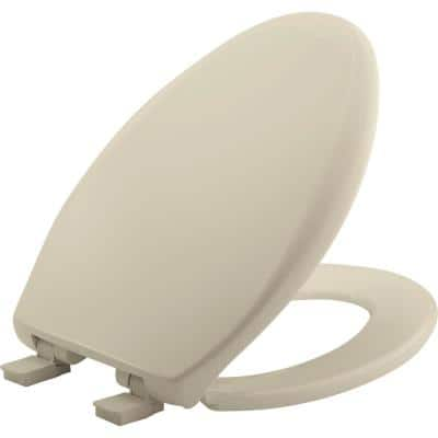 Affinity Never Loosens Slow Close Easy Clean Elongated Plastic Toilet Seat in Bone