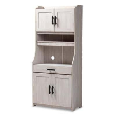 Portia White-Washed China Cabinet with Microwave Shelf
