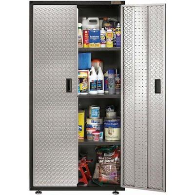 Ready-to-Assemble Steel Freestanding Garage Cabinet in Silver Tread (36 in. W x 72 in. H x 18 in. D)