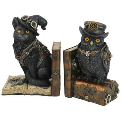 Knowledge Seekers Steampunk Cat and Owl Multi-Colored Resin Sculptural Novelty Bookends (Set of 2)