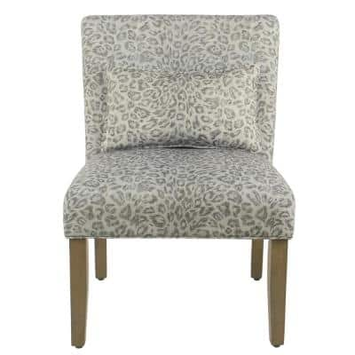 Parker Gray Cheetah Pattern with Matching Lumbar Pillow Accent Chair