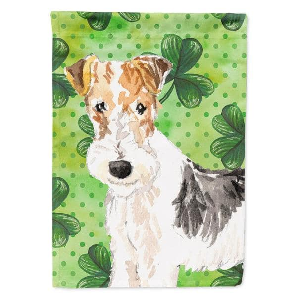 Caroline S Treasures 28 In X 40 In Polyester Shamrocks Fox Terrier Flag Canvas House Size 2 Sided Heavyweight Ck1781chf The Home Depot