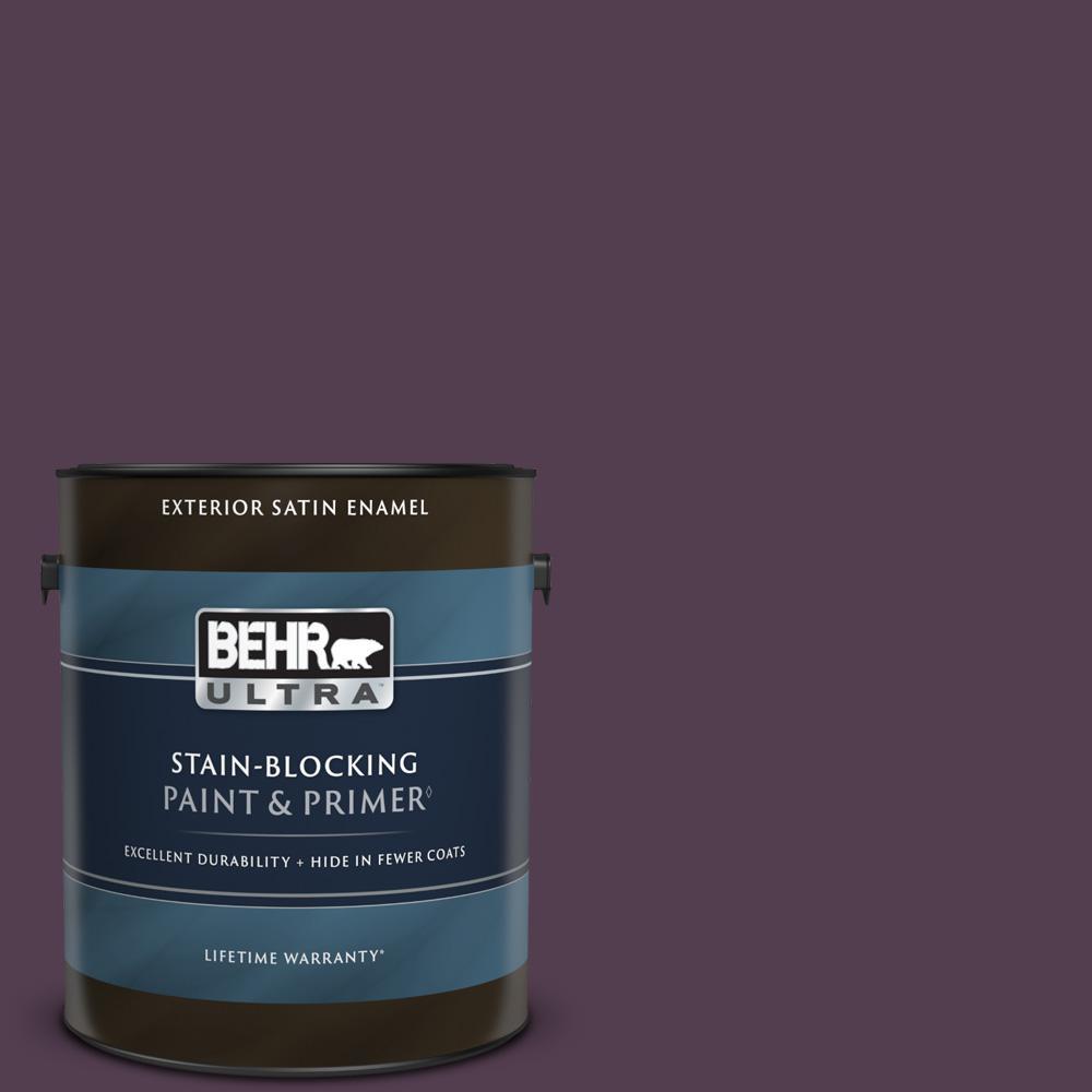 1 gal. #PPU17-02 Oriental Eggplant Satin Enamel Exterior Paint & Primer