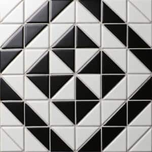 Tre Quadro Windmill Black with White 10-3/4 in. x 10-3/4 in. x 6mm Porcelain Mosaic Tile