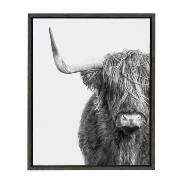 Kate And Laurel Sylvie B W Highland Cow No 1 By Amy Peterson Framed Canvas Wall Art 216793 The Home Depot