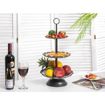 9.75 in. x 19.25 in. Sliver 3-Tiered Distressed Galvanized Round Stand Tray