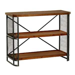 31 in. Brown Industrial Wood 3 Shelf Shelving Unit
