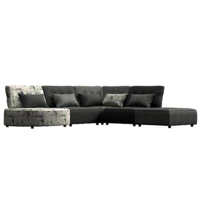 Domena 5-Piece Midnight Black Geometric/Gray Polyester L-Shaped Sectional Sofa with Ottoman