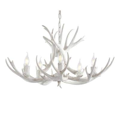 Eldora 30 in. Adjustable Resin Antler 5-Light White LED Chandelier