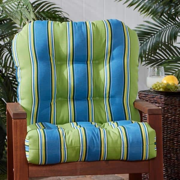 Greendale Home Fashions 21 In X 42 In Outdoor Dining Chair Cushion In Cayman Stripe Oc5815 Cayman The Home Depot