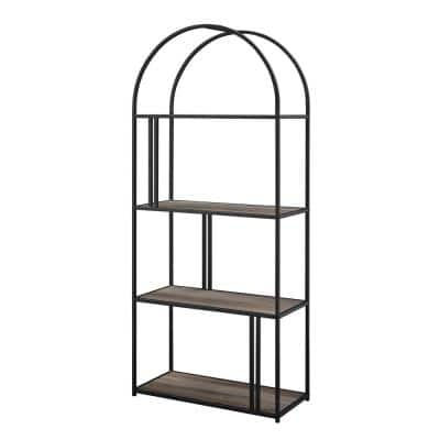 68 in. Grey Wash Wood and Metal Modern 4 -Shelf Arch Etagere Bookcase with Metal Accents