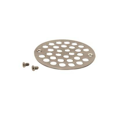 4 in. O.D. Sold Brass Shower Strainer Cover in Polished Nickel