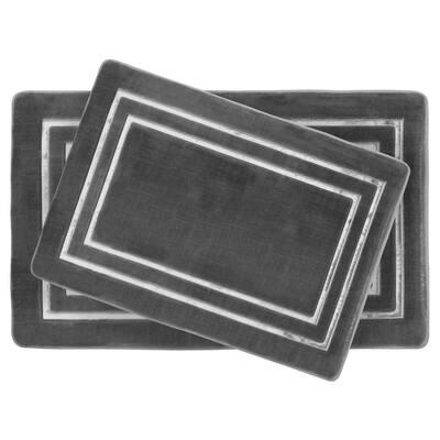 Border Embossed Dark Gray 20 in. x 32 in. Microfiber Memory Foam 2-Piece Bath Mat Set