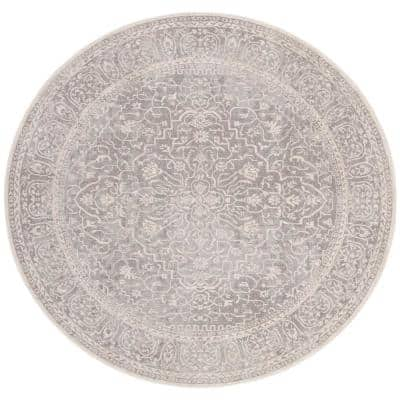 Reflection Light Gray/Cream 5 ft. x 5 ft. Round Distressed Floral Area Rug