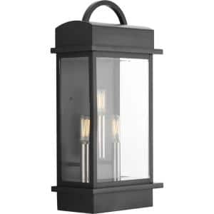 Santee Collection 3-Light Matte Black Clear Beveled Glass Farmhouse Outdoor Large Wall Lantern Light