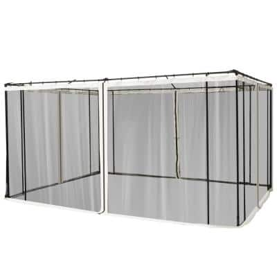 Replacement Mesh Mosquito Netting Screen Walls for 10 ft. x 13 ft. Patio Gazebo, 4-Panel Sidewalls with Zippers