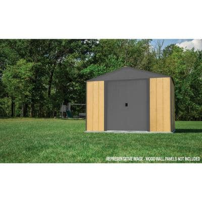10 ft. x 8 ft. Ironwood Steel Hybrid Shed Kit Galvanized in Anthracite