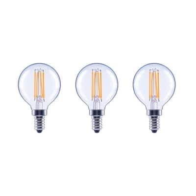 40-Watt Equivalent G16.5 Globe Dimmable ENERGY STAR Clear Glass Filament Vintage LED Light Bulb Daylight (3-Pack)
