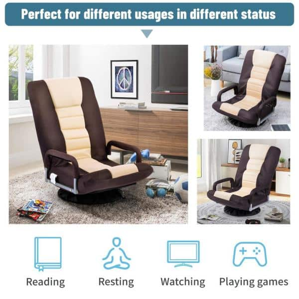 Boyel Living Brown Beige Swivel Video Rocker Gaming Chair Adjustable 7 Position Floor Chair Folding Sofa Lounger Tp 463daa The Home Depot