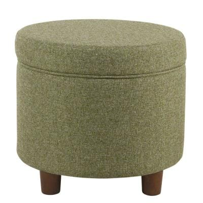 19 in. L x 19 in. W x 18 in. H Green Fabric Upholstered Round Wooden Ottoman with Lift Off Lid Storage