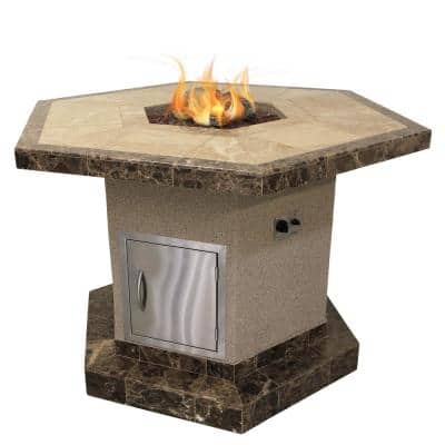Stucco and Tile Dining Height Square Propane Gas Fire Pit with Log Set and Lava Rocks