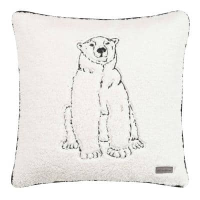 Cozy Polar Bear White 1-Piece 20X20 Plush Throw Pillow