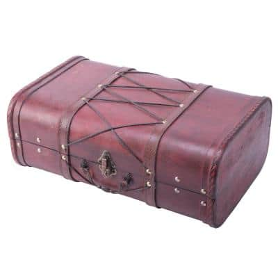 Pirate Style Cherry Vintage Wooden Luggage with x Design