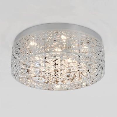 Crystal Nest 15 in. 26-Watt Stainless Steel Integrated LED Flush Mount