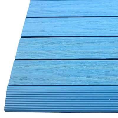 1/6 ft. x 1 ft. Quick Deck Composite Deck Tile Straight Fascia in Caribbean Blue (4-Pieces/Box)