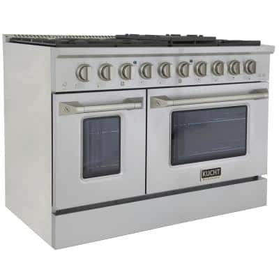 Pro-Style 48 in. 6.7 cu. ft. Double Oven Natural Gas Range with 8 Burners in Stainless Steel and Silver oven Doors