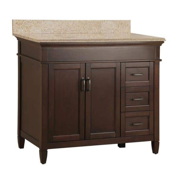 Home Decorators Collection Ashburn 37 In W X 22 In Bath Vanity In Mahogany With Granite Vanity Top In Beige With White Sink Asgabg3722dr The Home Depot