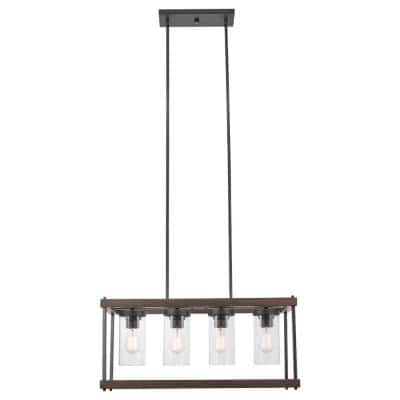 Omaha 4-Light Faux Wood Outdoor Indoor Chandelier with Clear Glass Shades and Bulbs Included