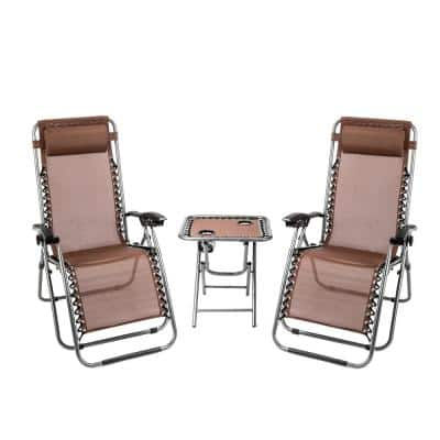 Black Outdoor Steel Frame Folding Lawn Chair Set, 2 Zero Gravity Recliner Lounge Chair and Table