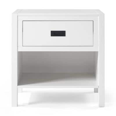 1-Drawer Classic Solid Wood Nightstand - White