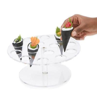 9.75 in. W x 4.25 in. H x 9.75 in. L Round Clear Acrylic 14-Slot Ice Cream Cone Holder Food Cone Serving Tray